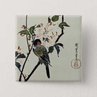Cherry Blossoms and Small Bird Pinback Button