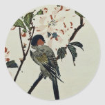 Cherry Blossoms and Small Bird Round Sticker