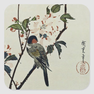 Cherry Blossoms and Small Bird Square Sticker