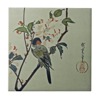 Cherry Blossoms and Small Bird Tile
