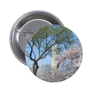 Cherry Blossoms and the Washington Monument 2 Inch Round Button