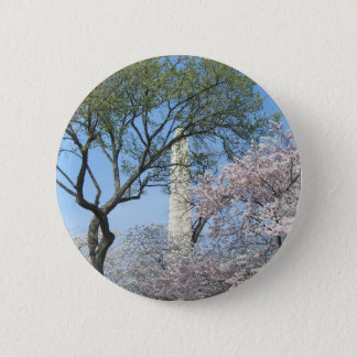 Cherry Blossoms and the Washington Monument in DC Pinback Button