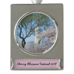 Cherry Blossoms and the Washington Monument in DC Silver Plated Banner Ornament