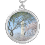 Cherry Blossoms and the Washington Monument in DC Silver Plated Necklace