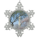 Cherry Blossoms and the Washington Monument in DC Snowflake Pewter Christmas Ornament