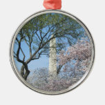 Cherry Blossoms and the Washington Monument Round Metal Christmas Ornament