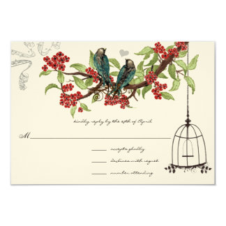 Cherry Blossoms Aqua Birds and Birdcage RSVP Card