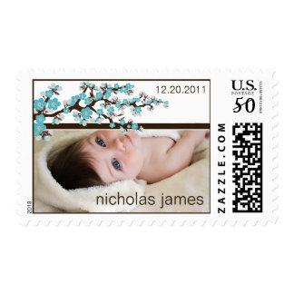 Cherry Blossoms Baby Announcement Stamp (aqua)
