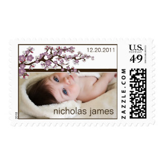 Cherry Blossoms Baby Announcement Stamp (lilac)