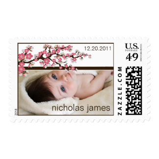 Cherry Blossoms Baby Announcement Stamp (pink)