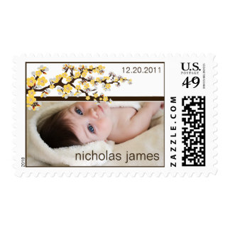 Cherry Blossoms Baby Announcement Stamp (yellow)