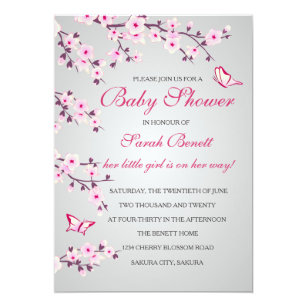 Pink cherry blossom baby shower invitations zazzle cherry blossoms baby shower invitation card filmwisefo