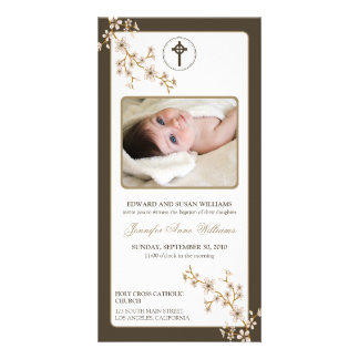 Cherry Blossoms Baptism Announcement (taupe) Personalized Photo Card