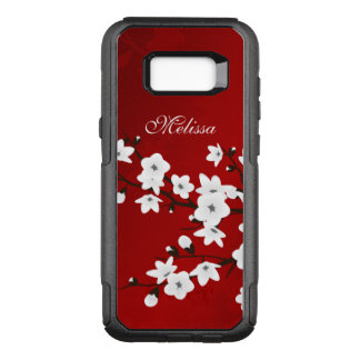 Cherry Blossoms Black White Red Monogram OtterBox Commuter Samsung Galaxy S8+ Case
