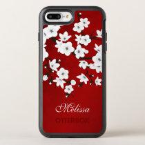 Cherry Blossoms Black White Red Monogram OtterBox Symmetry iPhone 8 Plus/7 Plus Case