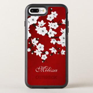 Cherry Blossoms Black White Red Monogram OtterBox Symmetry iPhone 7 Plus Case