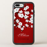 "Cherry Blossoms Black White Red Monogram OtterBox Symmetry iPhone 8 Plus/7 Plus Case<br><div class=""desc"">The traditional oriental sakura floral branch represents feminine beauty. I created this cherry blossoms and the shimmering red background with love to the detail. For women who love flowers and floral asian designs. Customize this case with your name!</div>"