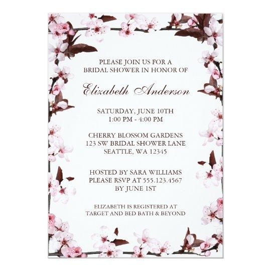 Cherry Blossoms Border Bridal Shower Card Zazzle Com