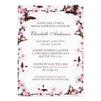 Cherry Blossoms Border Bridal Shower Custom Announcements
