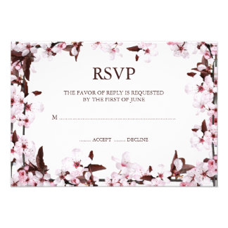 Cherry Blossoms Border RSVP Response Cards Personalized Invites