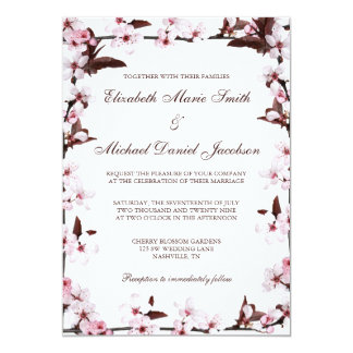 Cherry Blossoms Border Wedding Card