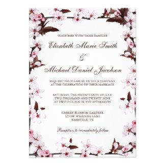 Cherry Blossoms Border Wedding Custom Invites