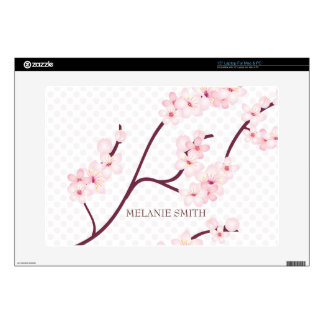 "Cherry Blossoms Branch on Polka Dots Decal For 15"" Laptop"
