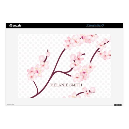 Cherry Blossoms Branch on Polka Dots Laptop Skins