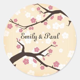 Cherry Blossoms Branch Weddings Classic Round Sticker