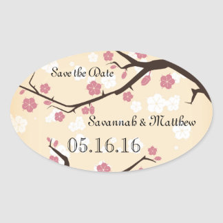 Cherry Blossoms Branch Weddings Oval Sticker