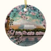 Cherry Blossoms Ceramic Ornament