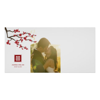 Cherry Blossoms Chinese Wedding Guestbook Poster