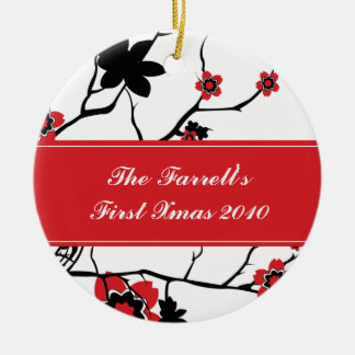 Cherry Blossoms Couples 1st Christmas Double-Sided Ceramic Round Christmas Ornament
