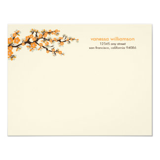 Cherry Blossoms Custom Flat Note Cards (orange)