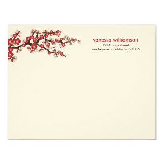 Cherry Blossoms Custom Flat Note Cards (red)