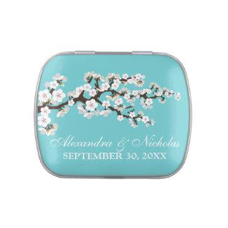 Cherry Blossoms Custom Wedding Favor Tins (aqua) Jelly Belly Candy Tins