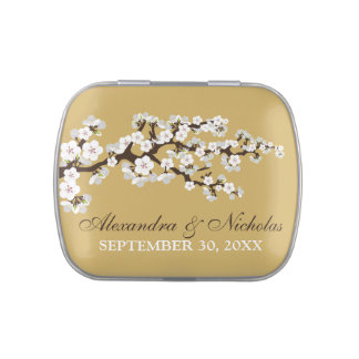 Cherry Blossoms Custom Wedding Favor Tins (gold) Jelly Belly Candy Tins