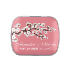 Cherry Blossoms Custom Wedding Favor Tins (pink) Jelly Belly Candy Tins at Zazzle