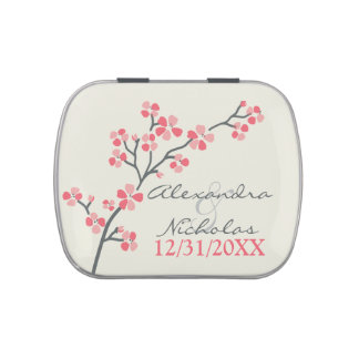 Cherry Blossoms Custom Wedding Favor Tins (pink) Jelly Belly Tin