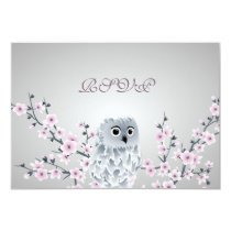 Cherry Blossoms Cute Owl Baby Shower Card