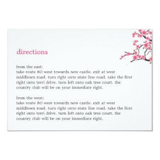"Cherry Blossoms Directions Card 3.5"" X 5"" Invitation Card"