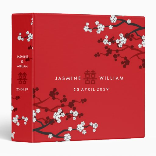 Cherry Blossoms Double Happiness Chinese Wedding Binder
