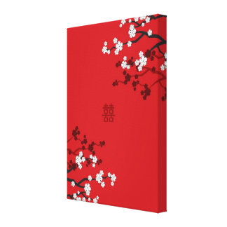 Cherry Blossoms Double Happiness Chinese Wedding Canvas Print