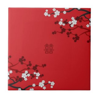 Cherry Blossoms Double Happiness Chinese Wedding Ceramic Tile