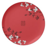 Cherry Blossoms Double Happiness Chinese Wedding Dinner Plate