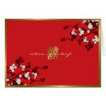 Cherry Blossoms Double Happiness Chinese Wedding Greeting Card