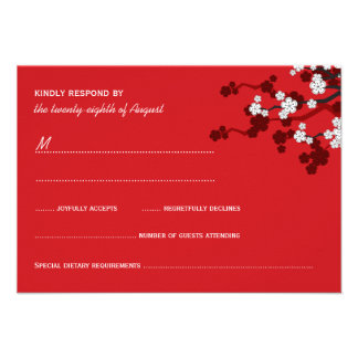 Cherry Blossoms Double Happiness Chinese Wedding Personalized Invitations