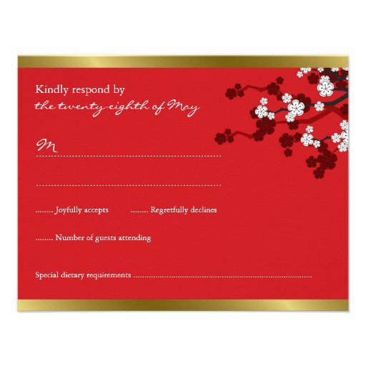 Cherry Blossoms Double Happiness Chinese Wedding Personalized Announcement