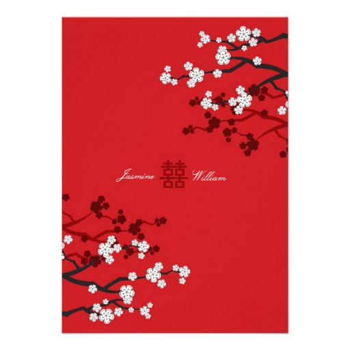 Cherry Blossoms Double Happiness Chinese Wedding Announcements
