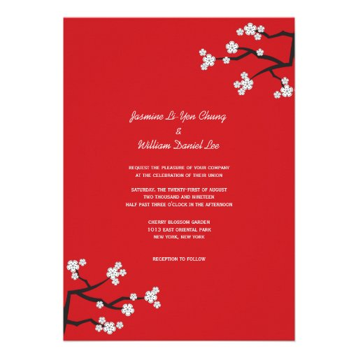 Cherry Blossoms Double Happiness Chinese Wedding Invitation (back side)